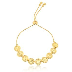 pulseira regulável love blog ouro 18k - Francisca Joias